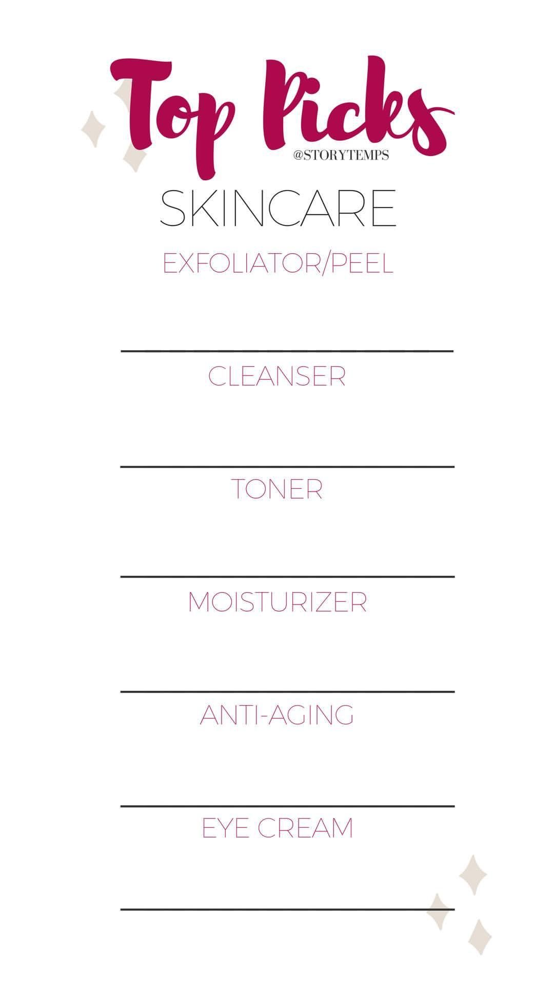 List Your Top Skincare Products Storytemps Storytemplates Storygames Instagram Facebook S Skin Care Quiz Top Skin Care Products Instagram Story Template