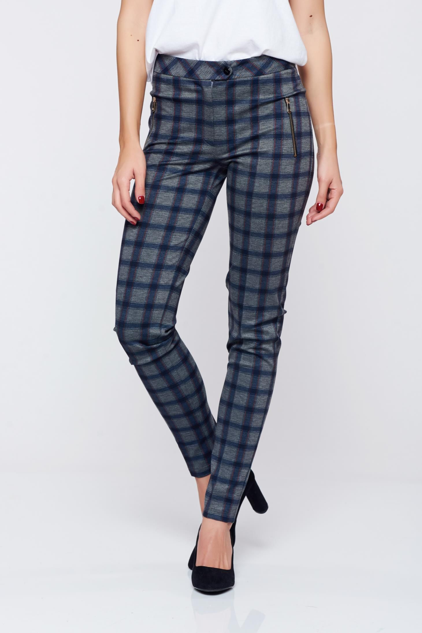 LaDonna conical darkblue office chequers trousers with medium waist women`s trousers tented & LaDonna conical darkblue office chequers trousers with medium ...