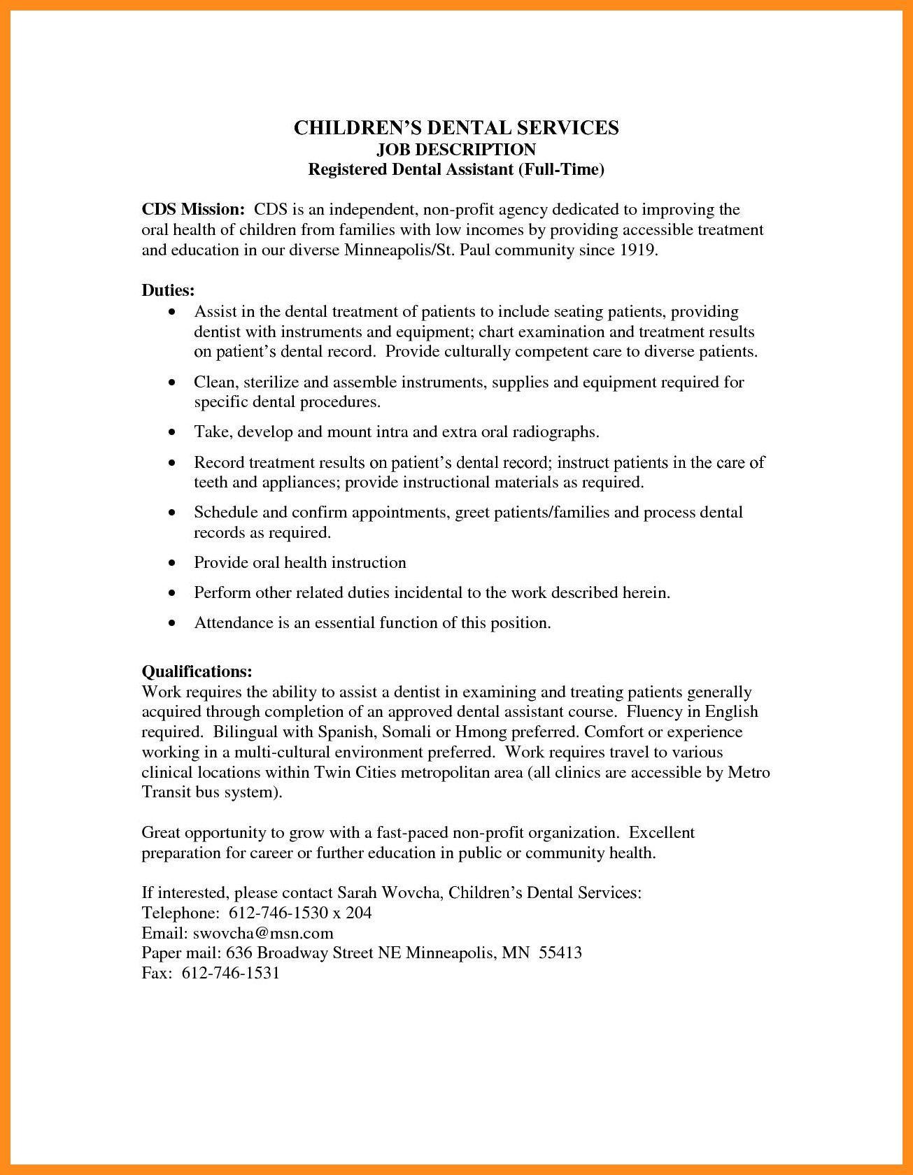 Dental assistant Job Description for Resume Special 12 13