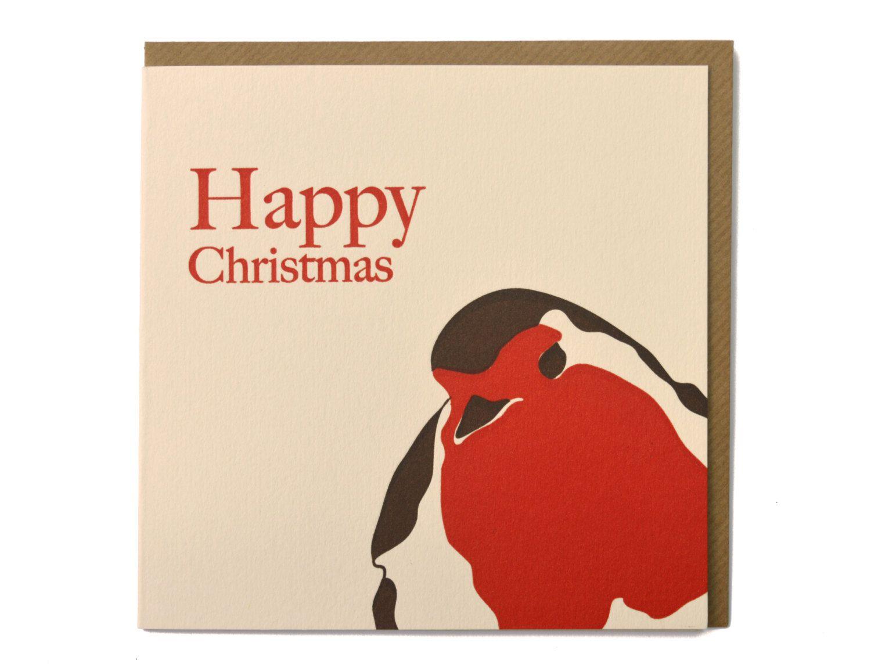 Christmas Card Holiday Card Non Denominational Card Robin Card