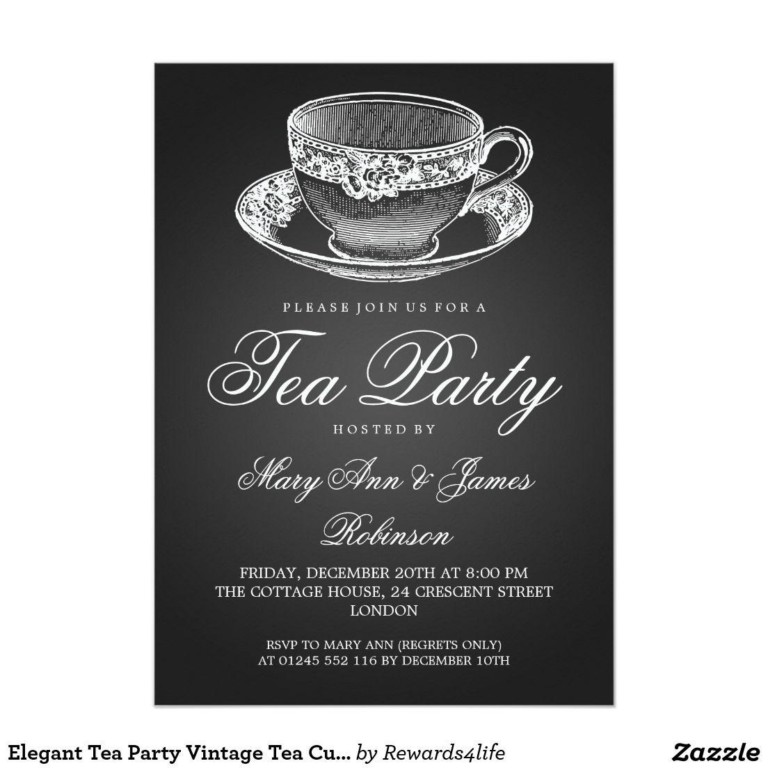 Elegant Tea Party Vintage Tea Cup Black Card Tea Party Invitations