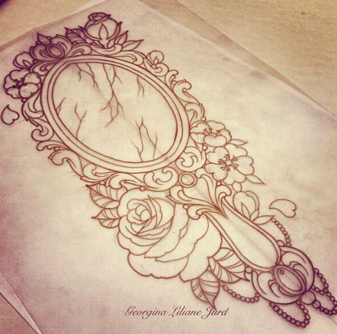 Antique Mirror Sketch Mirror Tattoos Sleeve Tattoos Tattoos