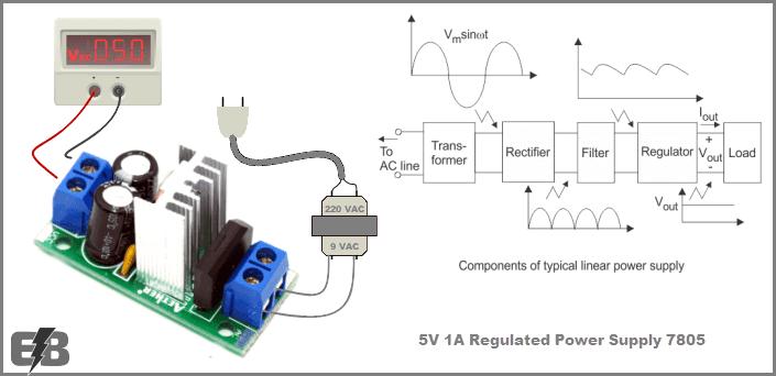 دائرة منظم جهد 5v وتيار 1a بإستخدام 7805 Electronic Bubble Power Supply Circuit Power Power Supply