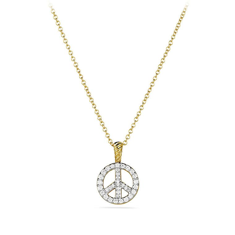 Cable collectibles peace sign pendant necklace with diamonds in cable collectibles peace sign pendant necklace with diamonds in gold mozeypictures Choice Image