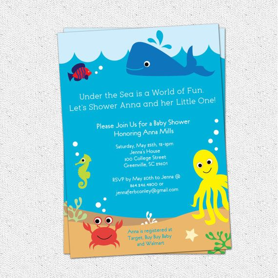 Captivating Under The Sea Baby Shower Invitation, Creatures Boy Girl Gender Neutral,  Whale Fish Crab Printable DIY Digital File