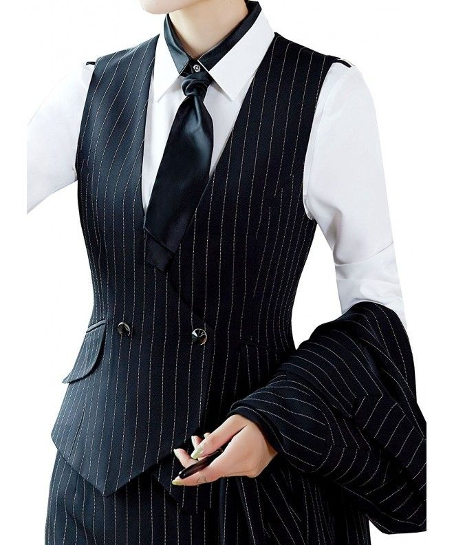 Women V-Neck Lined Slim Fit Waistcoat Dreesy Suit Vest - Style 1_black Pinstripe - CO1863G7N2C,Women's Clothing, Coats, Jackets & Vests, Vests  #Coats #Jackets #Vests #Clothing #Style #womenvest
