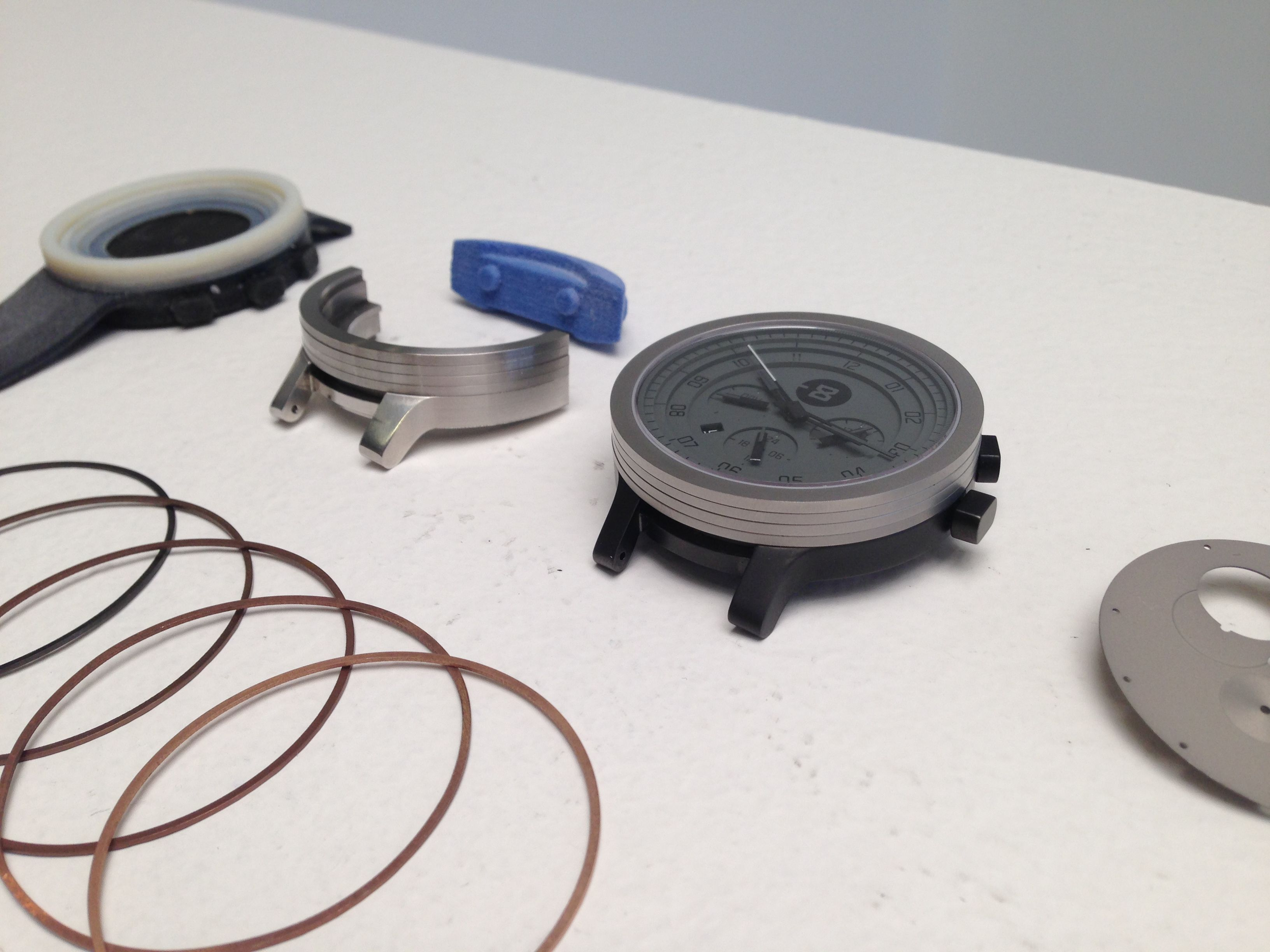 Deconstruction of the minus 8 watch collection 3d printed for Modelli case 3d