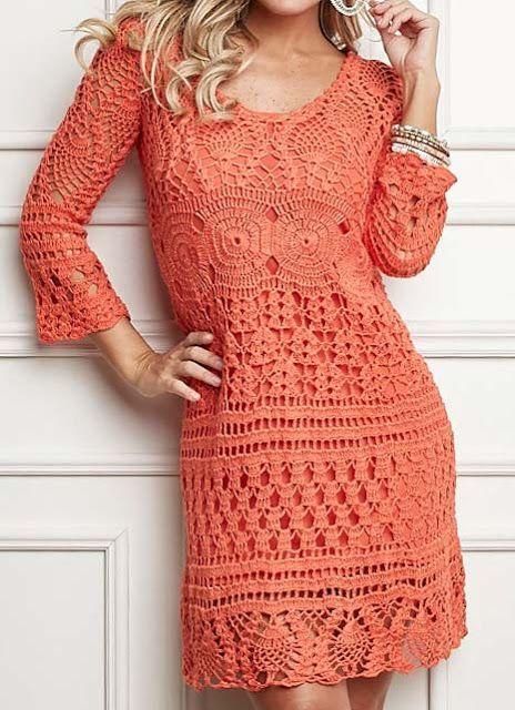 vestido de crochet con la manga larga - crochet libre | Mi modelo ...