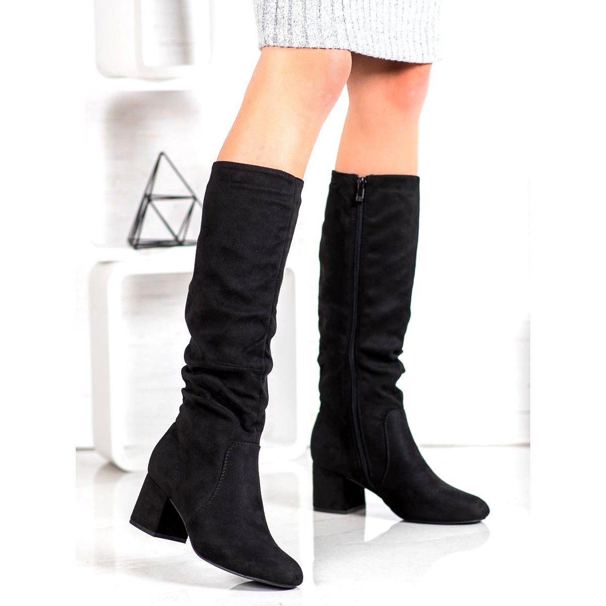 Super Mode Wygodne Kozaki Na Slupku Czarne Over Knee Boot Boots Shoes