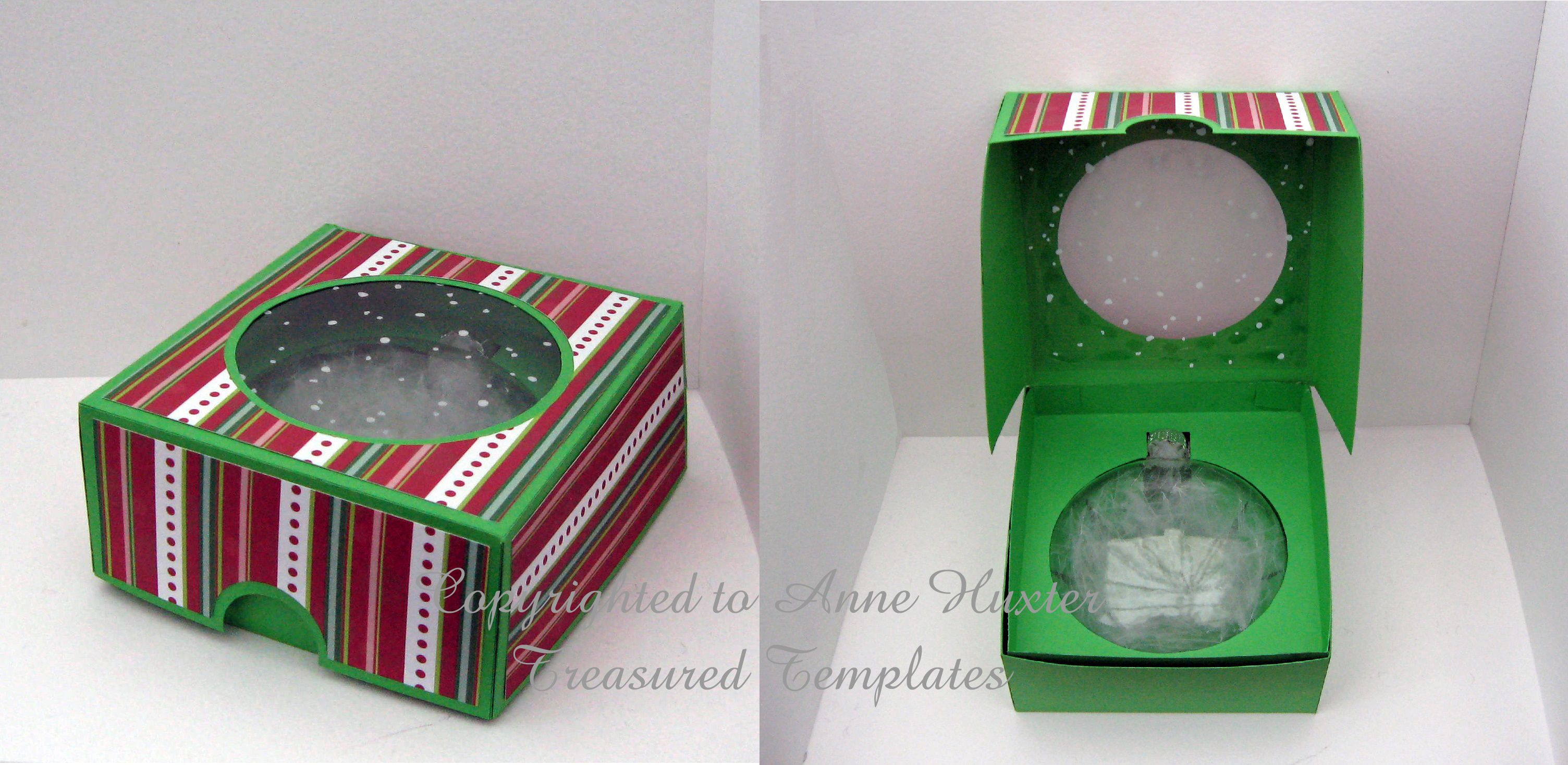 4 inch Flat Bauble Box Template Paper decorations, Paper