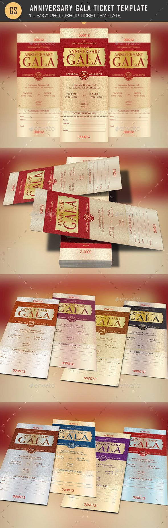 Anniversary Gala Ticket Template Photoshop PSD Red Classical O Available Here