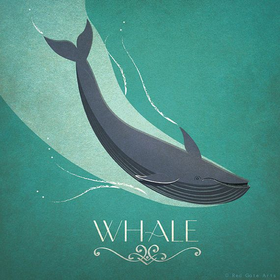 "Whale Print Original Design Animal Alphabet Poster Art Deco Vintage Seaside 1940's Childrens Baby Nursery 7x7"" Square Cute Beautiful Retro"