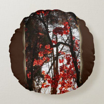 Red Forest Leaves Round Pillow