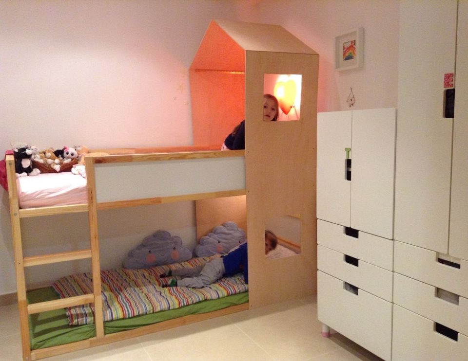 Ikea Kinderzimmermöbel ~ Ikea kura hack bunk bed playhouse kids room