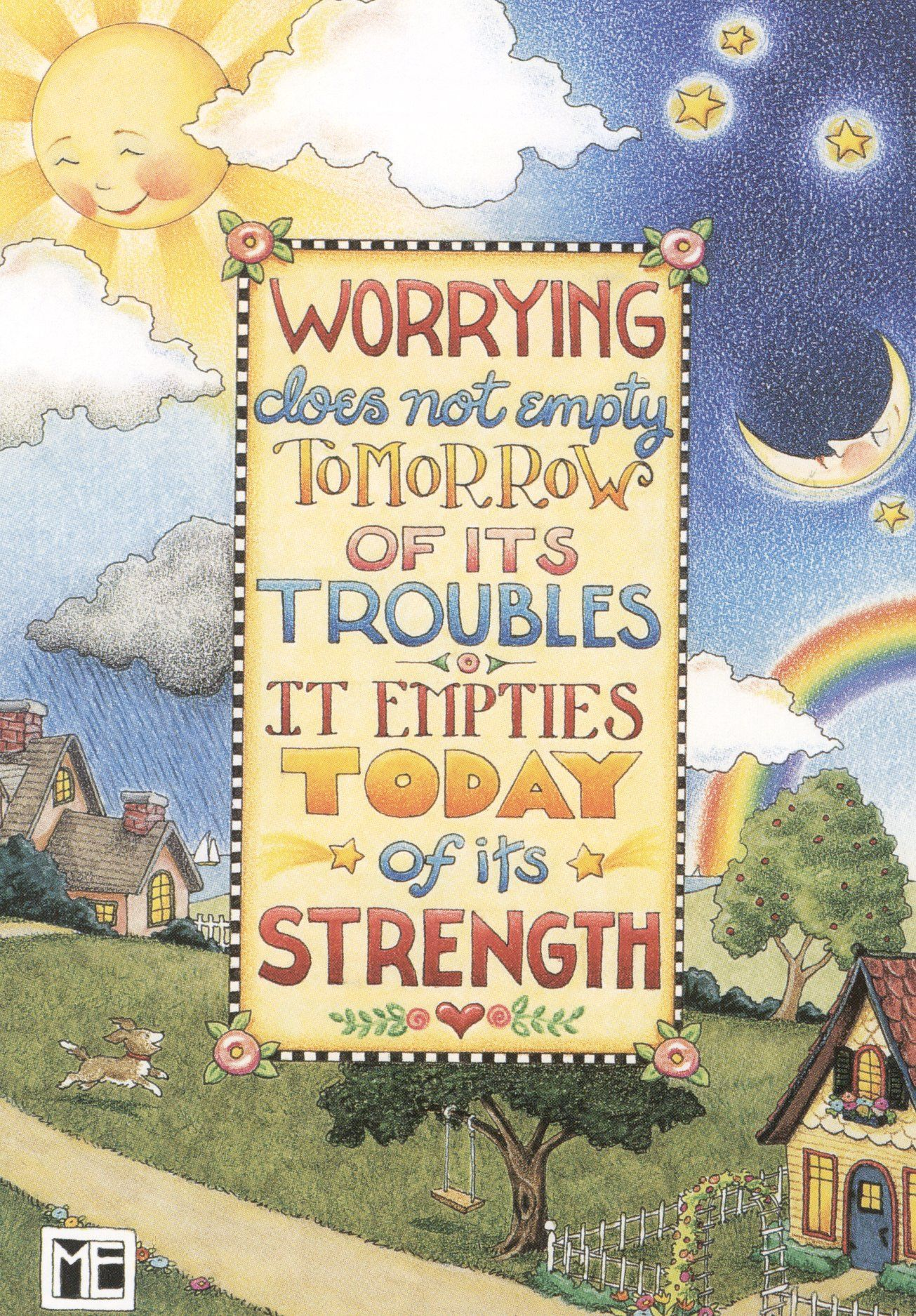 WORRY EMPTIES TODAY\'S STRENGTH-Handcrafted Magnet-Using art ...