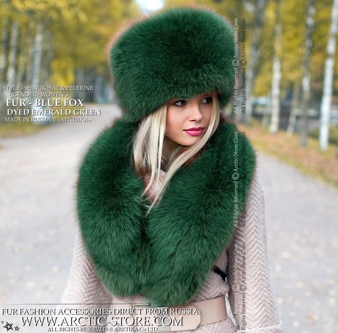 5aab25a9253 Russian fur hat and matching round pelerine in Saga quality Blue fox dyed  Emerald green color. Warm and stylish fox set for bitten frosts and fashion  ...
