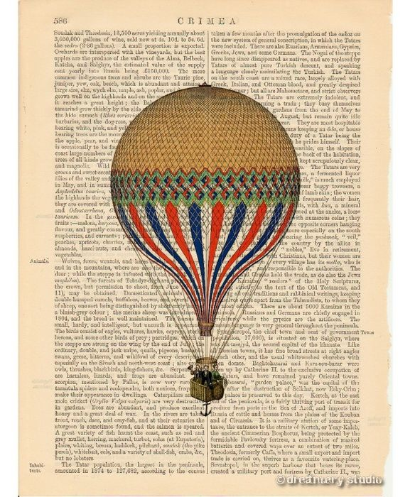 Yellow Hot Air Balloon Art Print on Antique Book Page ...