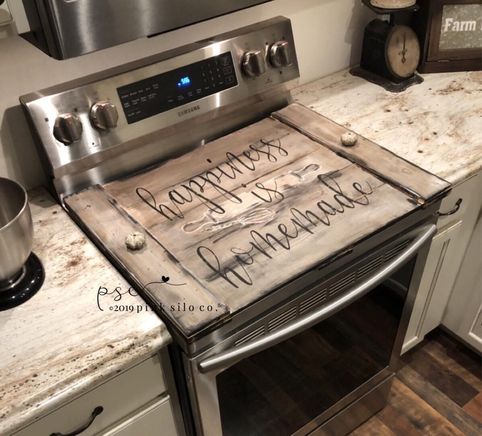 Happiness Is Homemade Stove Top Cover Farmhouse Stove Top Etsy In 2020 Stove Cover Stove Top Cover Rustic Kitchen