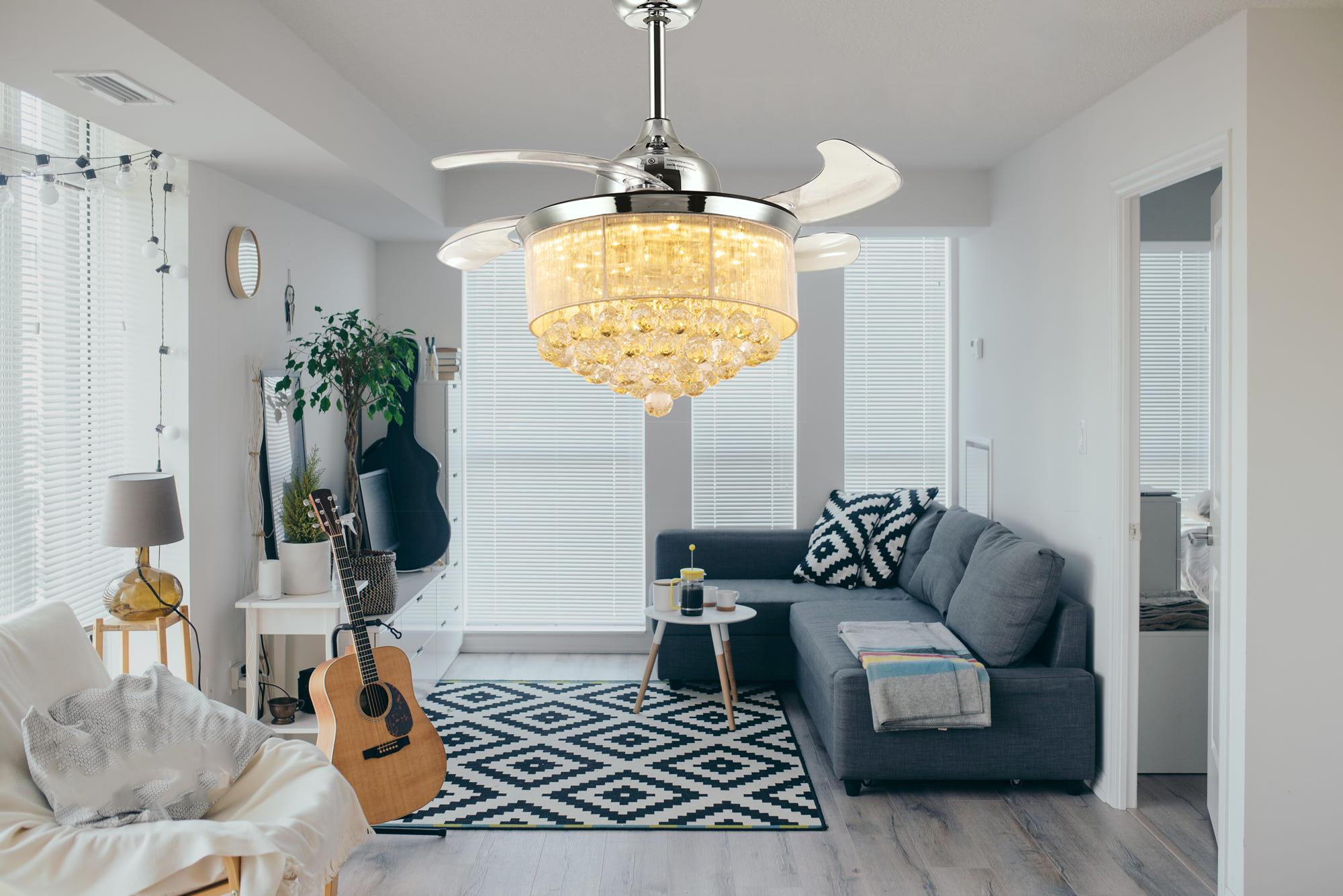 44++ Living room chandelier with fan ideas