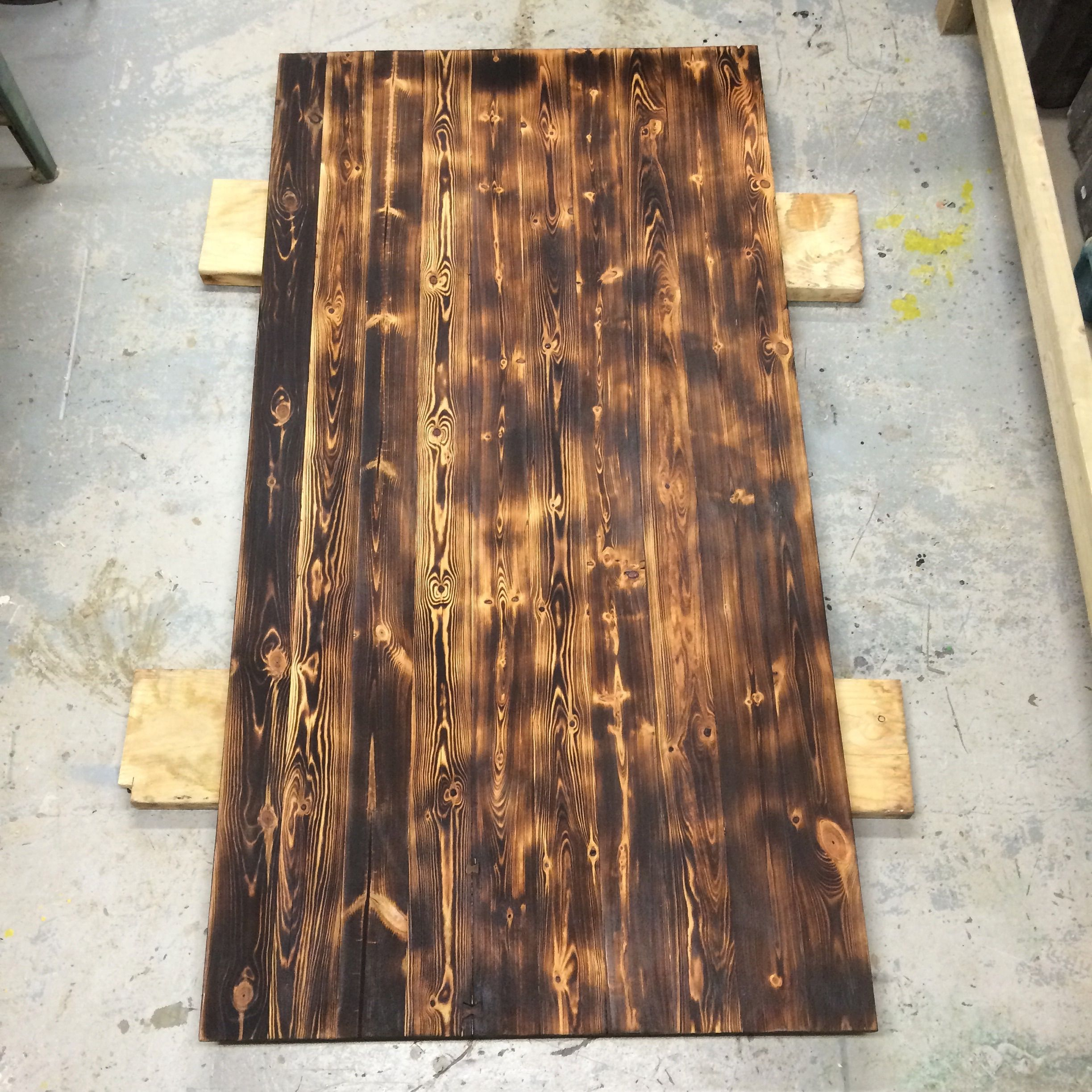 Burnt Pine Dinning Tabletop Finished With Hard Wax Oil And Final Layer Of  Clear Beeswax.
