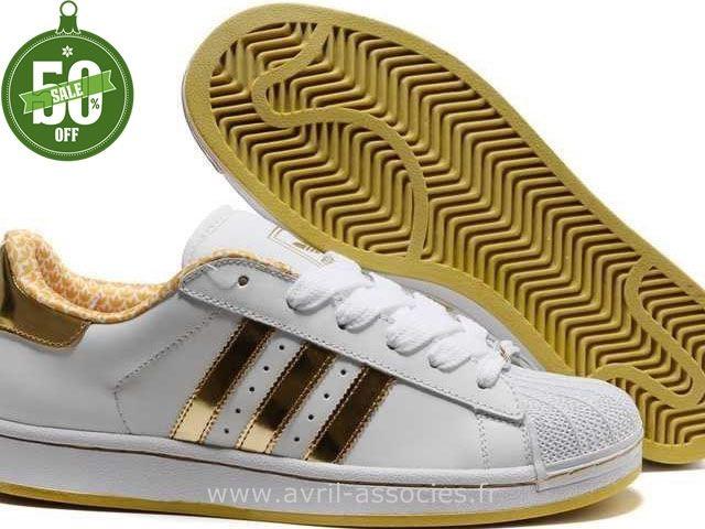 e9d747d8eb4 Officiel Hommes Adidas Chaussures Superstar II Or Jaune Blanc (Basket Adidas  Pas Cher)