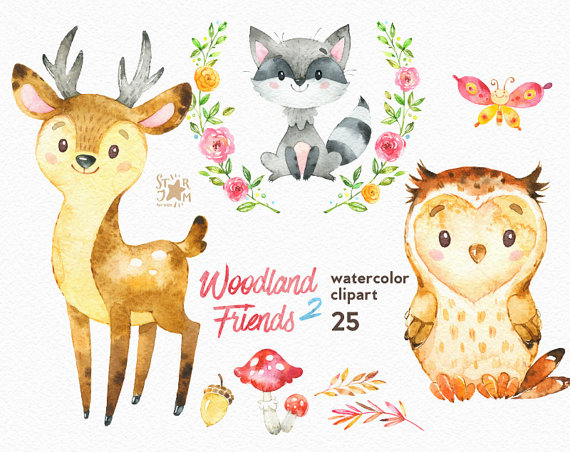 Deer watercolor. Woodland friends animals clipart