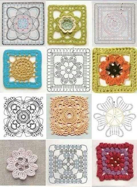 Square a ganchillo con gráfico   apliques a crochet   Pinterest ...