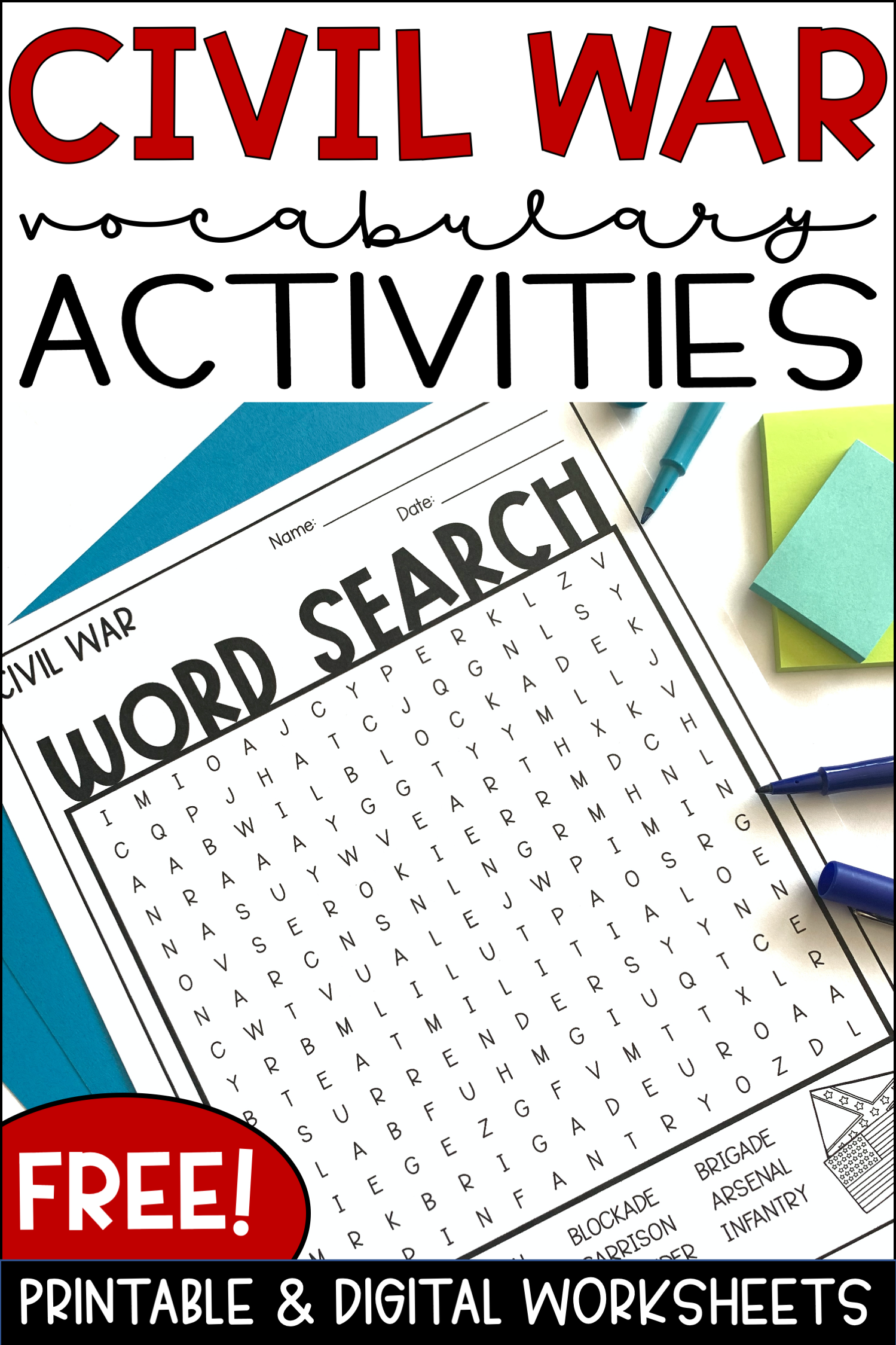 Free Printable And Digital Civil War Vocabulary Words And