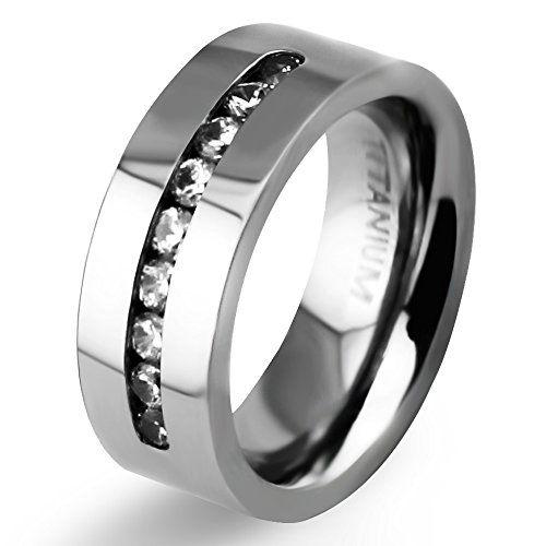 Anium Ring 8mm White Clic Wedding Bands With Brilliant Diamond Inlay