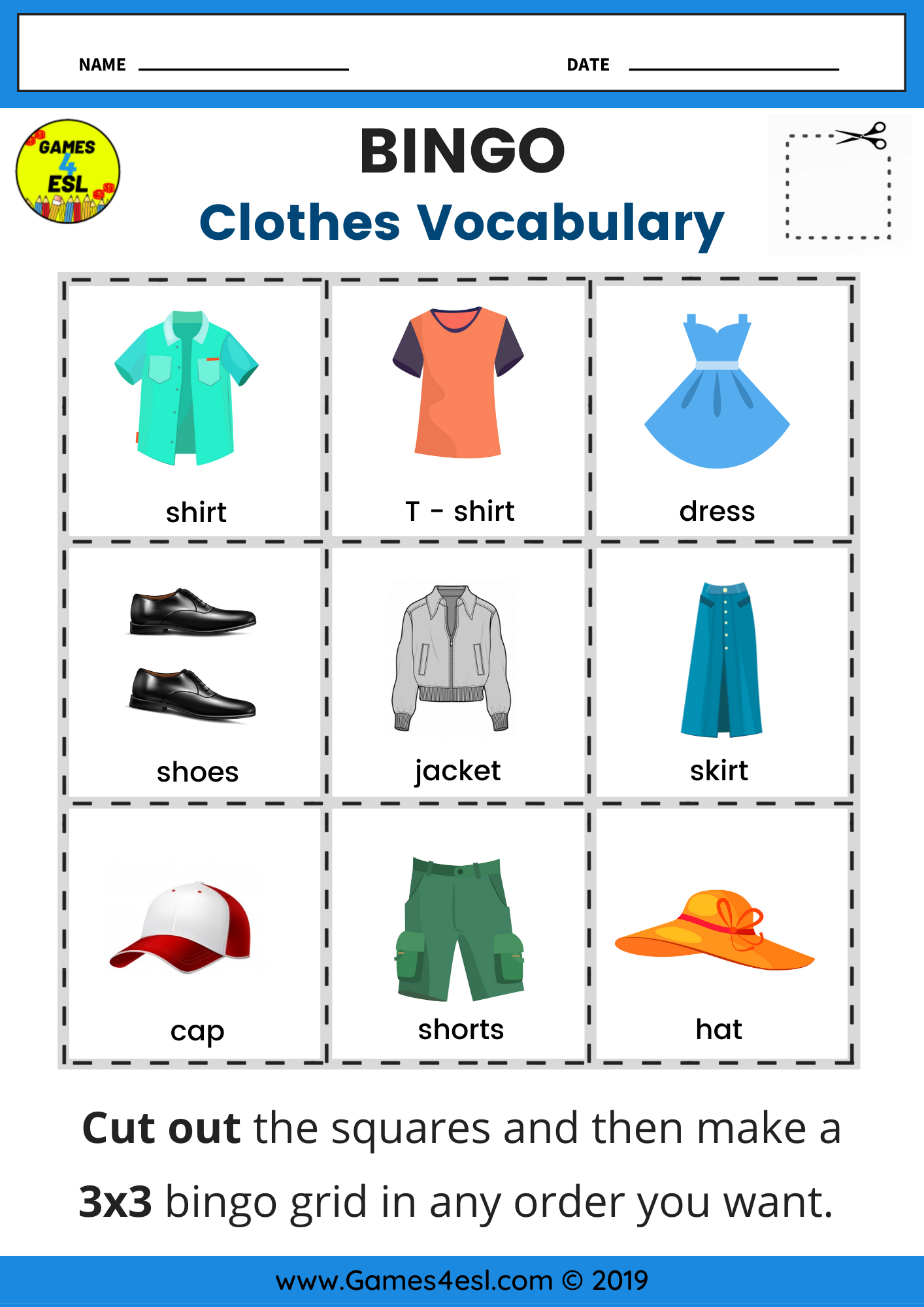 Clothes Vocabulary Bingo Worksheet In