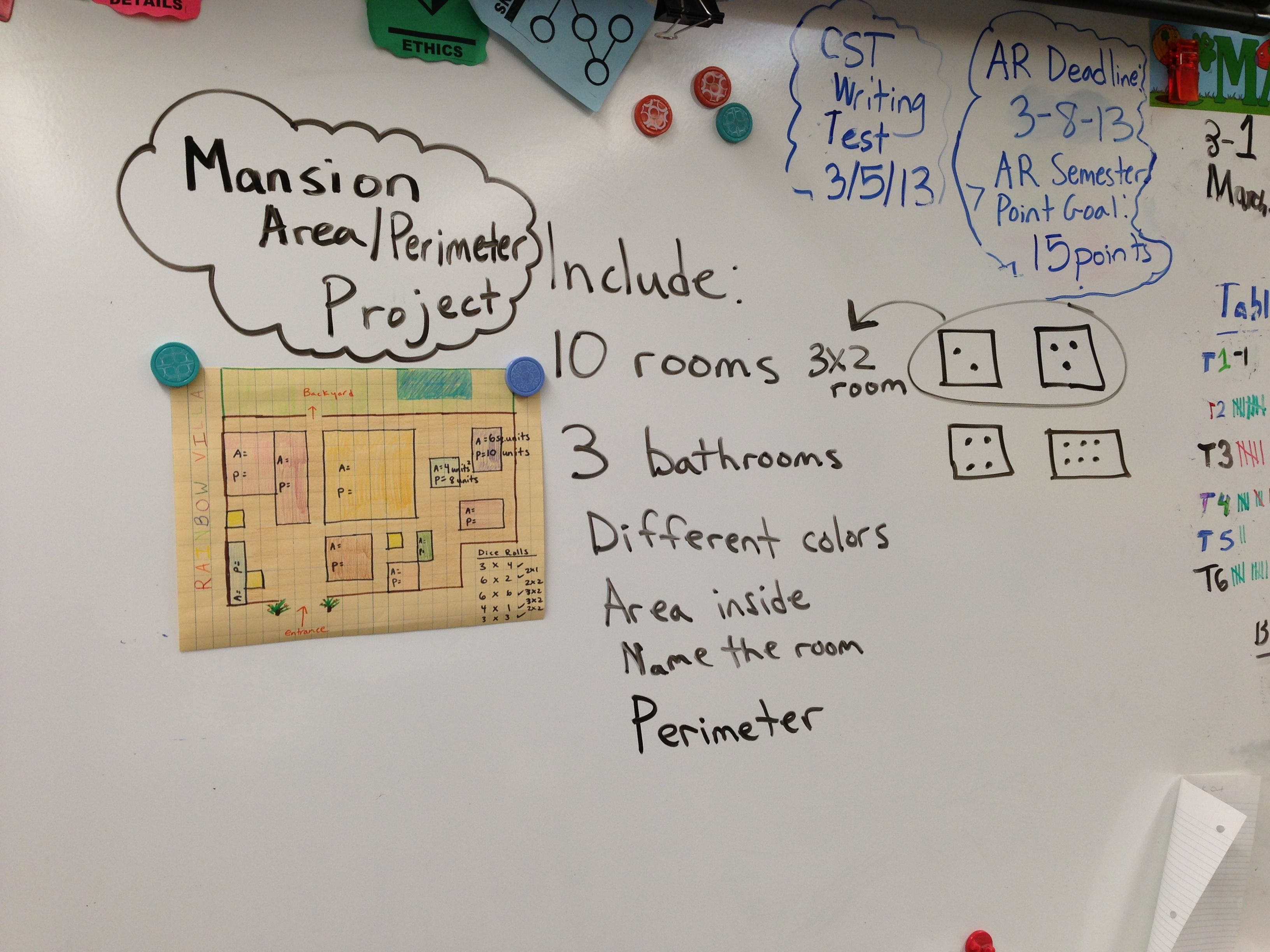 Area Perimeter Mansion Project Students Create Rooms