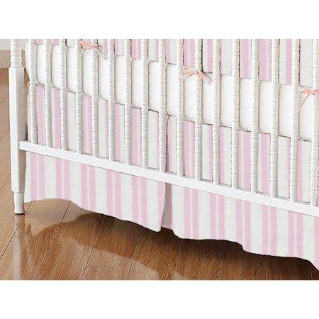 SheetWorld Crib Skirt - Pink Dual Stripe (Choose Your Color)
