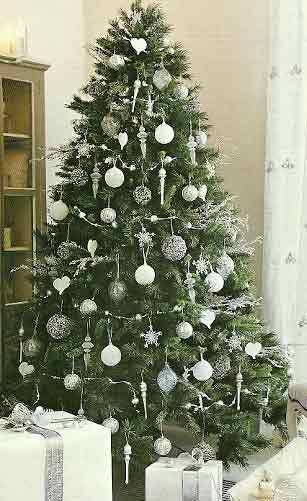 Decoracin rbol de navidad en blanco Pinterest Navidad
