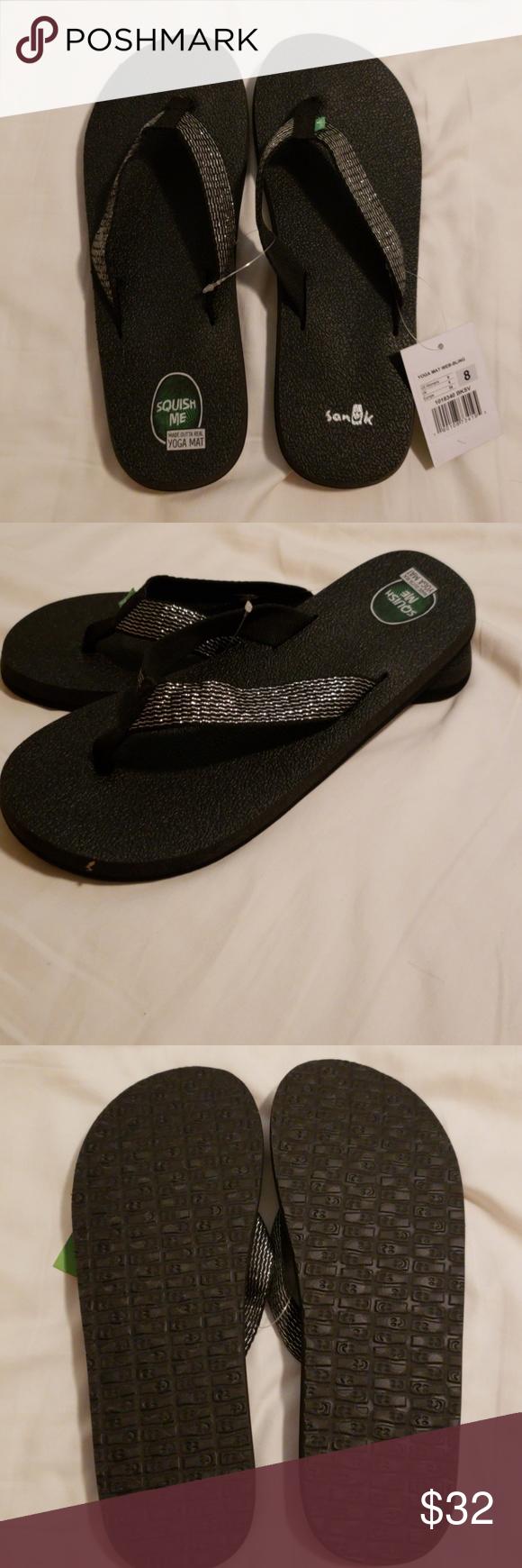 bfca5968bc8d8e Sanuk Yoga Mat Web Bling Flip Flops NWT. Sanuk Yoga Mat Web Bling Flip  Flops. Black Silver. No Trades. Lowball offers will be ignored or declined.