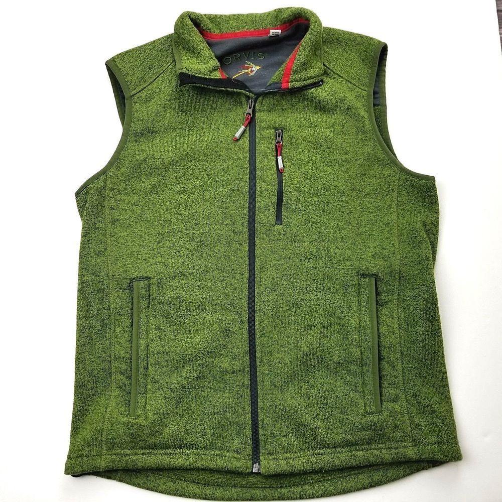 b1497e3375f635 Orvis Denali Sweater Fleece Vest Mens Go-To Layering Media Zip Pocket Sz  Medium  Orvis  Vest