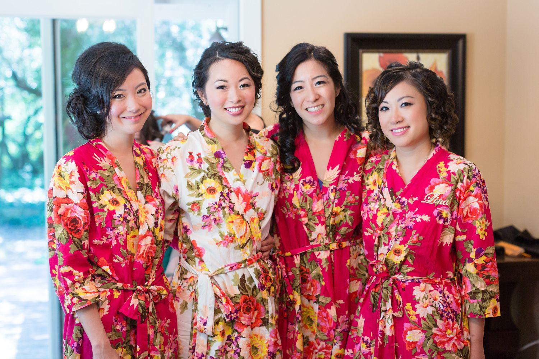 Bridesmaids Getting Ready Silk Floral Robes | Glen-Ellen-Jack-London-State-Park-Wedding-Photographer-TréCreative