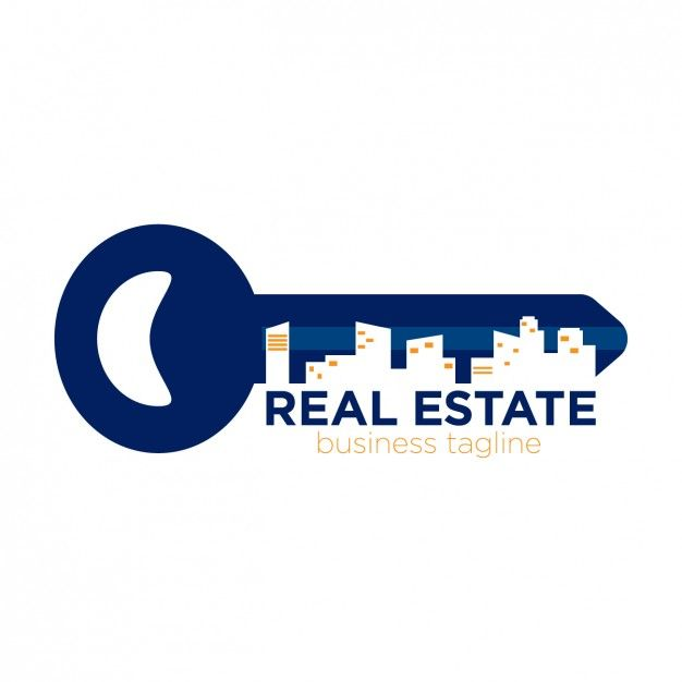 real estate logo in key form free vector