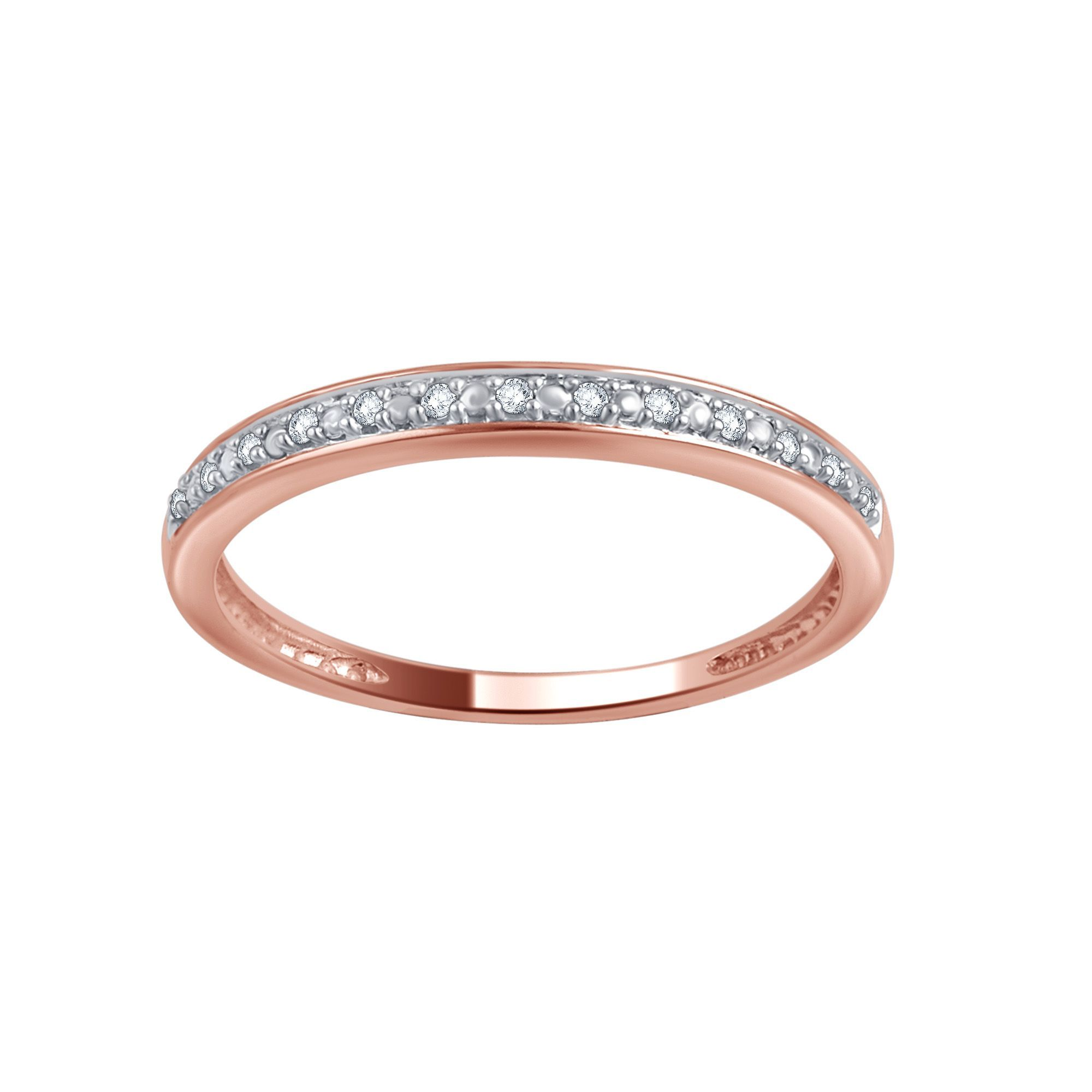 diamond rose bands gold ring classic court band wedding