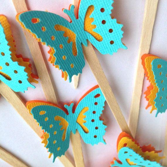 Bright Blue Butterfly Cake Pick on Etsy, $12.00