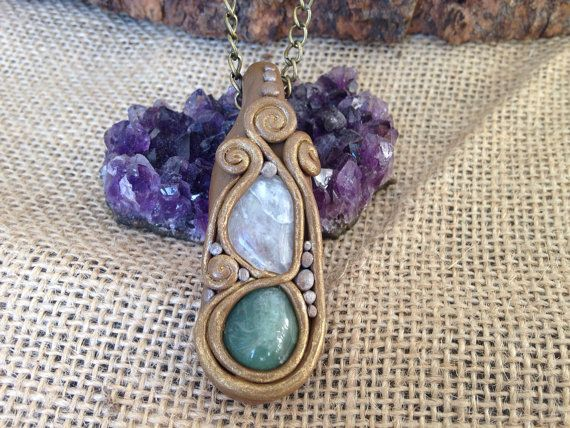 Green aventurine and rainbow moonstone polymer clay stone Crystal necklace pendant on Etsy, $30.00