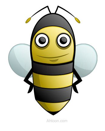 Beautiful cartoon bee made with simple basic shapes. :)