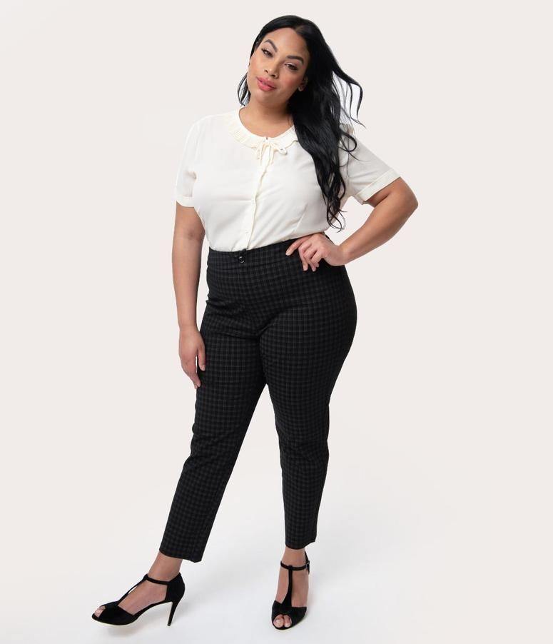 88bf944c2 Plus Size Black Plaid High Waist Stretch Luisa Skinny Pants in 2019 ...