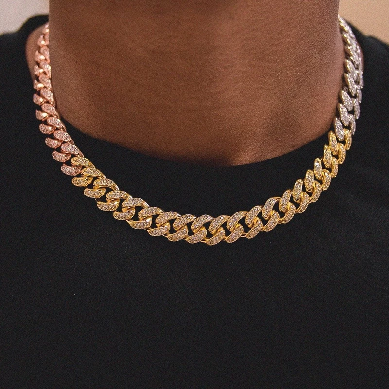 Diamond Cuban Link Choker 10mm In Yellow Gold Gold Chains For Men Chains For Men Gold Chain Jewelry