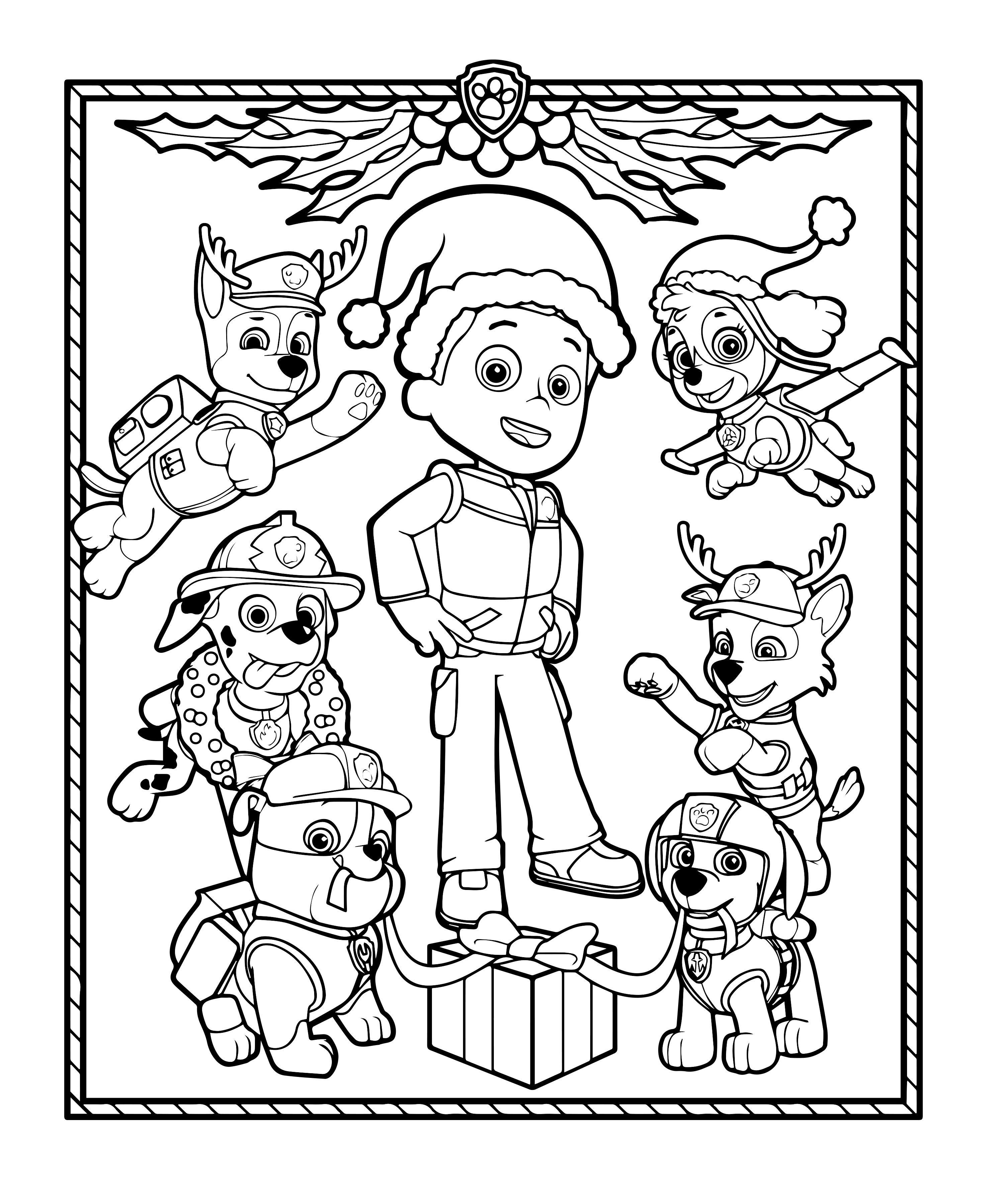 Coloriage De Les Chiots De La Pat Patrouille Decorent Pour Noel