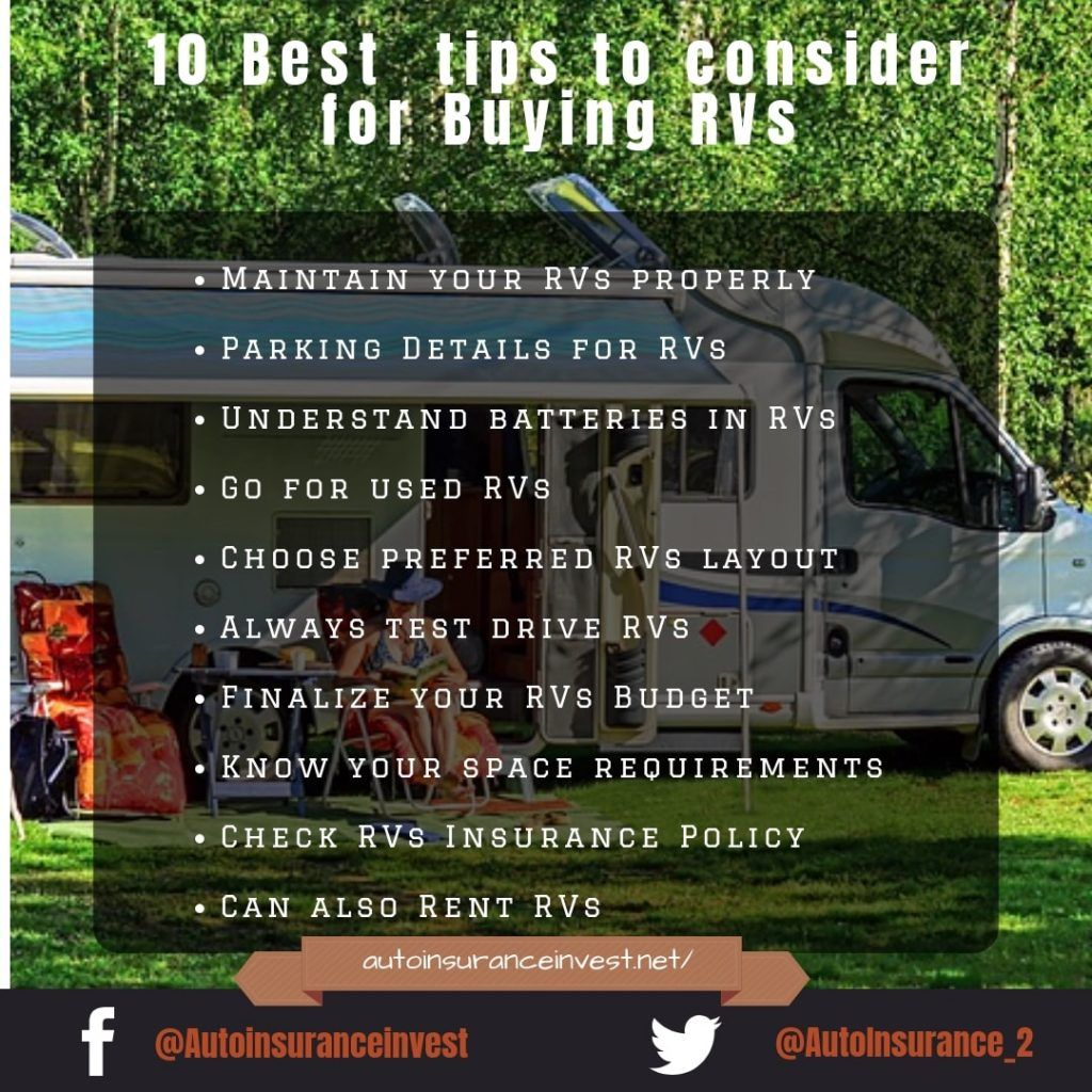 10 Tips To Consider For Buying Rvs Best First Car Car Insurance