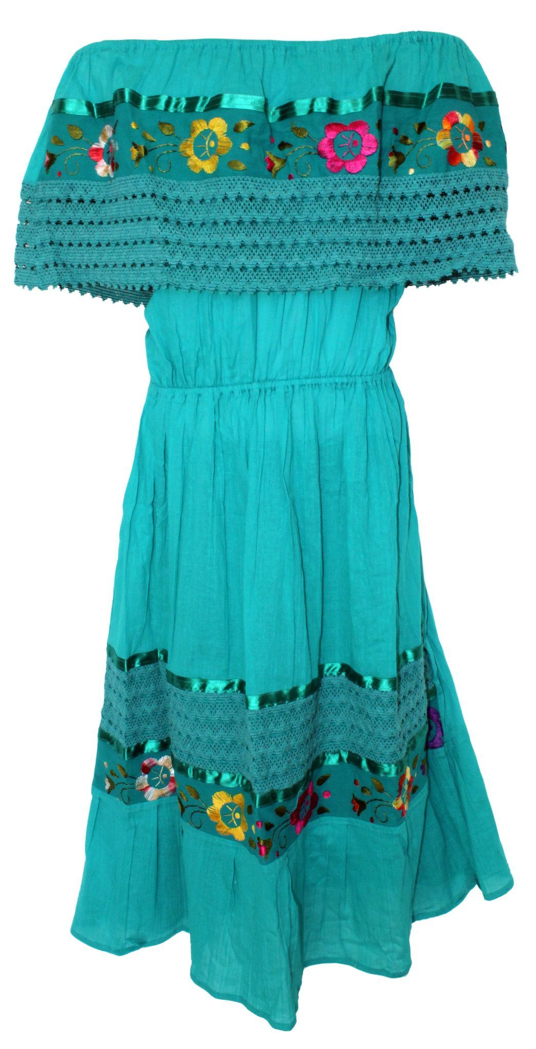 c12c7447e7076 This beautiful Mexican dress features an elastic tube top and elastic waist  which makes this a one-size-fits-Medium through XL This one piece  off-shoulder ...