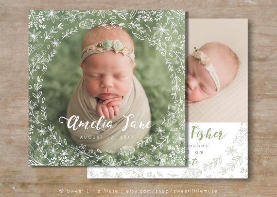 Girl Birth Announcement Template - Square girl birth announcement - announcement template free