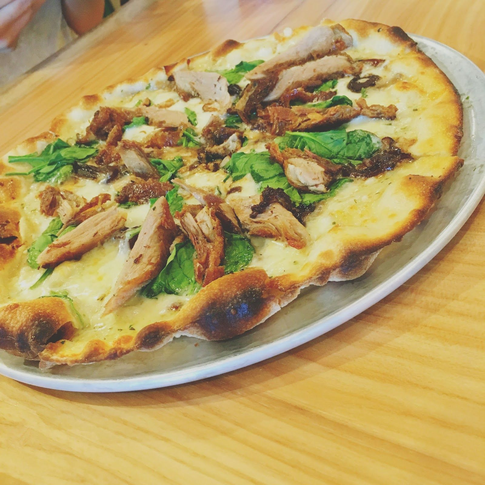 crispy duck pizza at h s green adventures in a new ish city