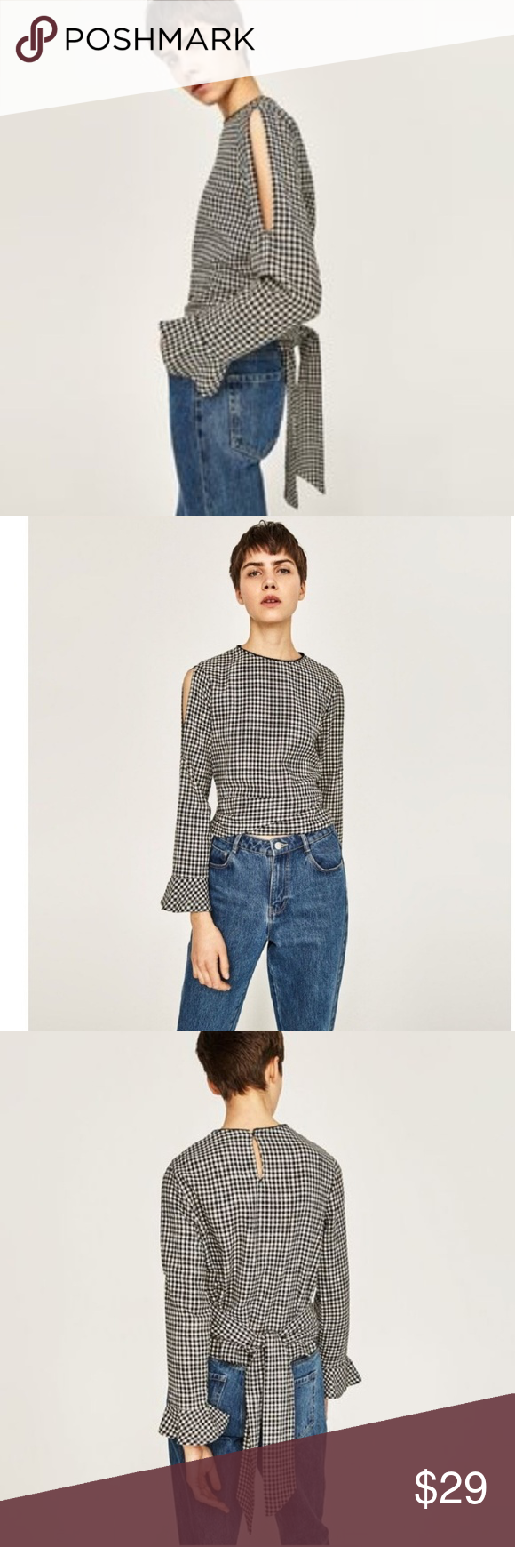 aff5f42dc46f6f Zara Basic black gingham cold shoulder blouse Zara Basic blouse in black gingham  print featuring long