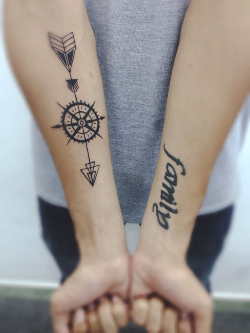 Dont forget your family and dont lose your way   Tatuering